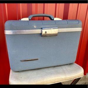 Vntg Starflite Train Case, Light Blue, w/Tray!